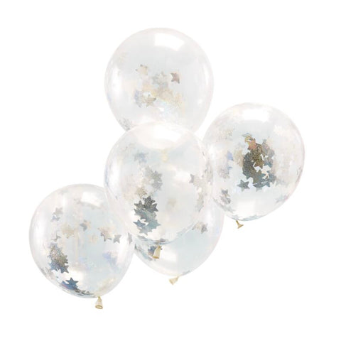 Holographic Party Confetti Balloons - 5pack