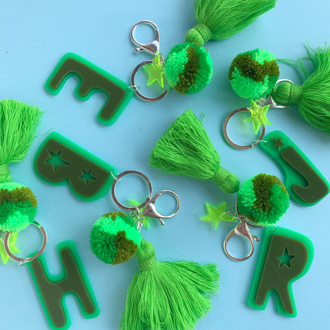 Hello Kit Co. x Emeldo Alphabet Keyring - Green + Olive