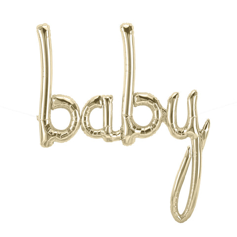 White Gold BABY Script Balloon