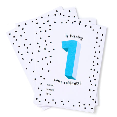 Blue No.1 Invites - Pack of 12