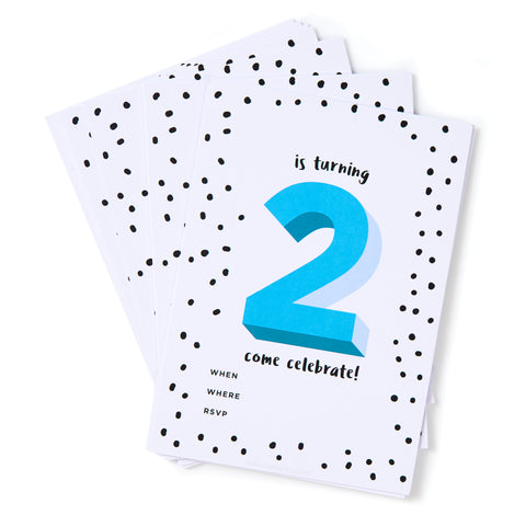 Blue No.2 Invites - Pack of 12
