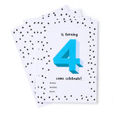 Blue No.4 Invites - Pack of 12