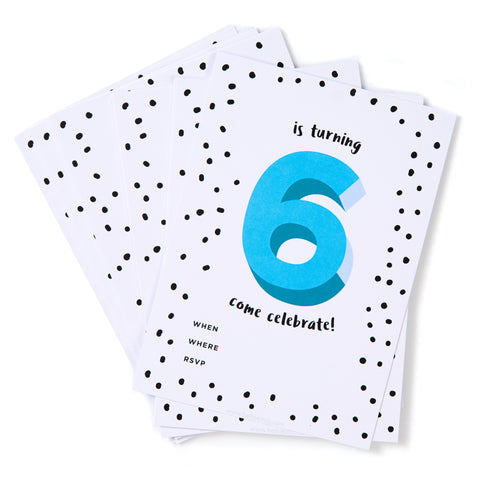 Blue No.6 Invites - Pack of 12