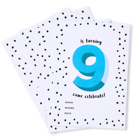 Blue No.9 Invites - Pack of 12