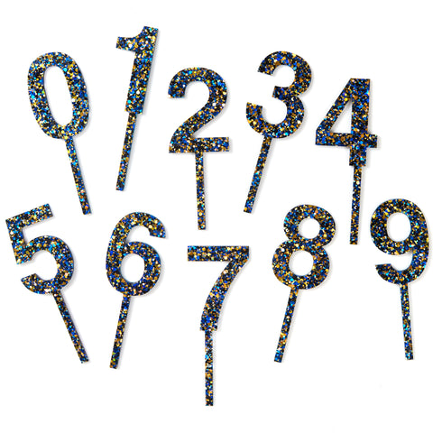 Confetti Number Toppers - Blue