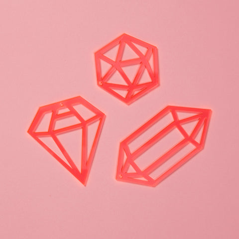 Gem Decorations Set - Neon Pink
