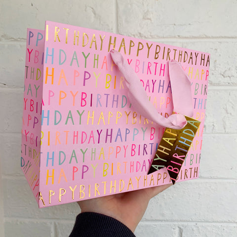 Happy Birthday Gift Bag - Pink
