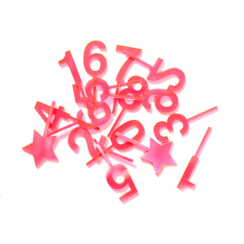 Neon Pink Tiny Toppers - Set of 6
