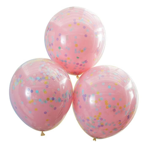 Pastel Pink Confetti Balloons - pack of 3