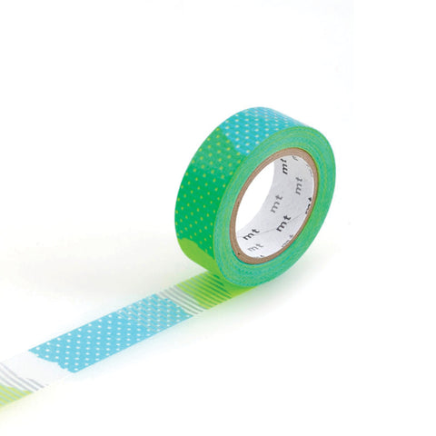Patchwork Blue & Lime - Masking Tape MT