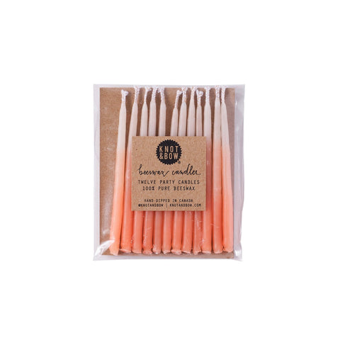 Peach Ombré Beeswax Party Candles