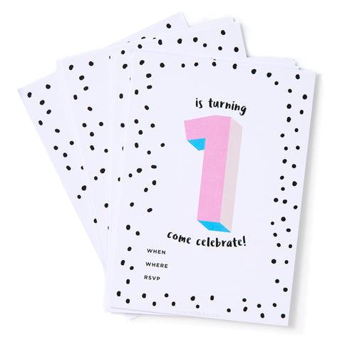 Pink No.1 Invites - Pack of 12