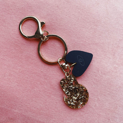 Trolley Token - Gold Glitter w Black evil eye heart