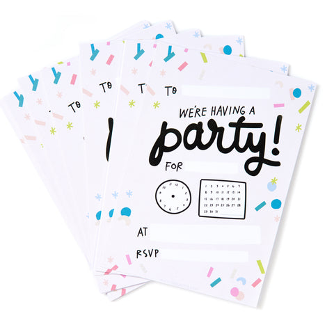 Time to Party Invites - Pack of 12