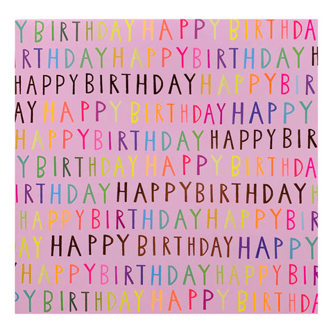 Folded Wrap - 'happy birthday pink script'