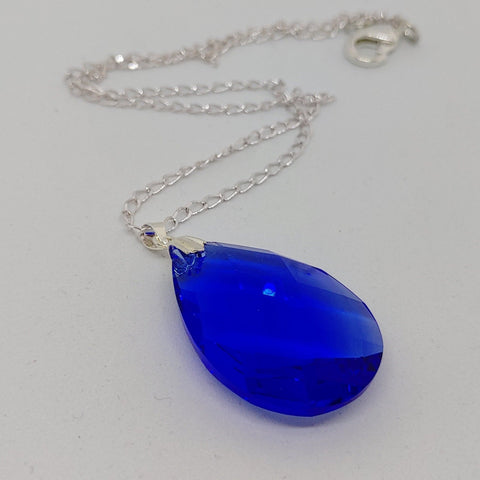 Blue Teardrop Crystal Necklace - Crystal Flower