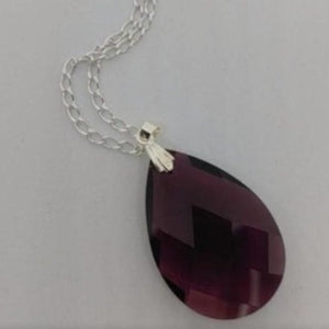Burgundy Teardrop Crystal Necklace - Crystal Flower