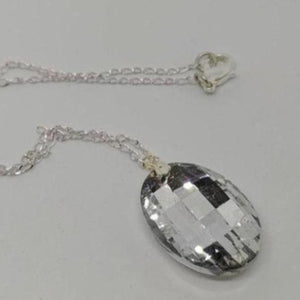 Clear Oval Pendant Crystal Necklace - Crystal Flower