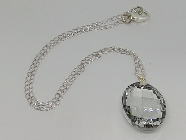 Clear Oval Pendant Crystal Necklace