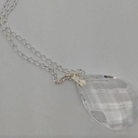 Clear Teardrop Crystal Necklace - Crystal Flower