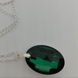 Emerald Oval Pendant Crystal Necklace