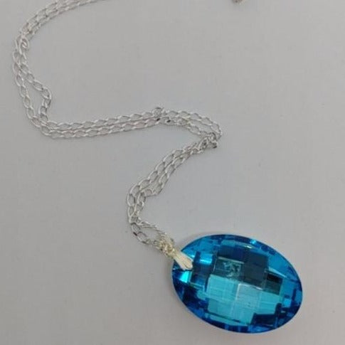 Blue Oval Pendant Crystal Necklace - Crystal Flower