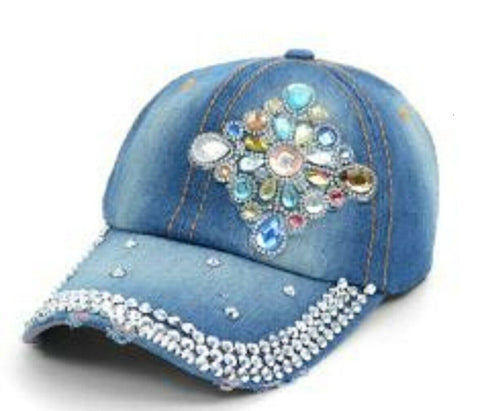 Bling Baseball Cap - Crystal Flower