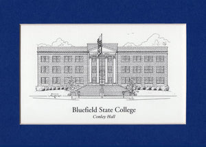 "Bluefield State College Conley Hall  5"" x 7"" matted print duffcreations.com (c) 2020 Robert Duff Sr"