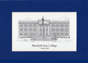 "Bluefield State College  Conley Hall  10"" x 12"" matted print duffcreations.com (c) 2020 Robert Duff Sr"