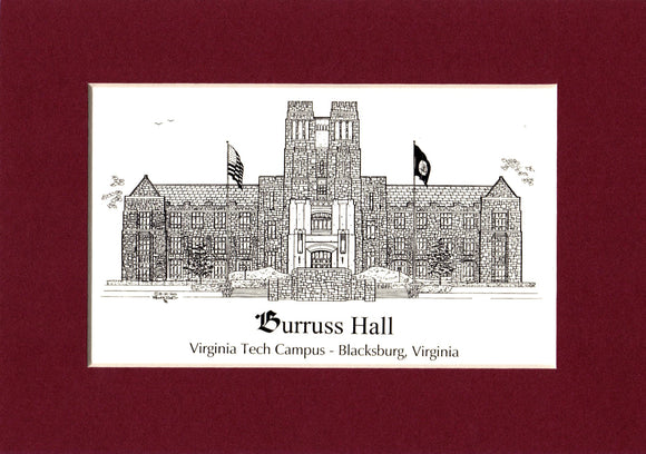 Burruss Hall Virginia Tech - Personalized Pen & Ink - matted prints - choose Size and Year