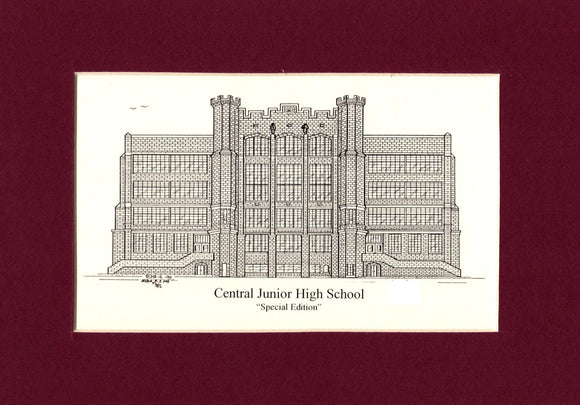 Central Junior High School pen and Ink print - Choose from (3) Sizes