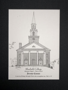 Bluefield College  - Harman Chapel  - Artist Robert E Duff Sr. - Personalized Pen and ink print