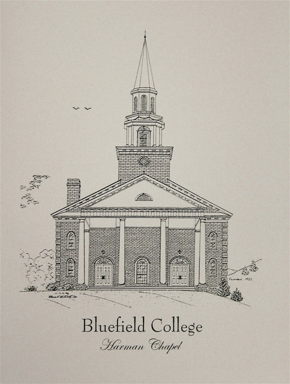 Bluefield College Harman Chapel note cards  (c) 2021 Robert E Duff Sr