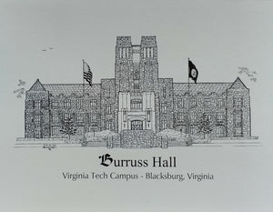 "Burruss Hall - Virginia Tech Blacksburg VA - Note Cards  ""Unique Gifts For Unique People"" (c) 2021 Robert Duff Sr - duffcreations.com"