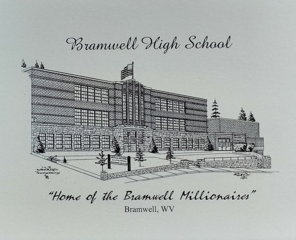 Bramwell High School note card (c) 2020 Robert E Duff Sr - duffcreations.com