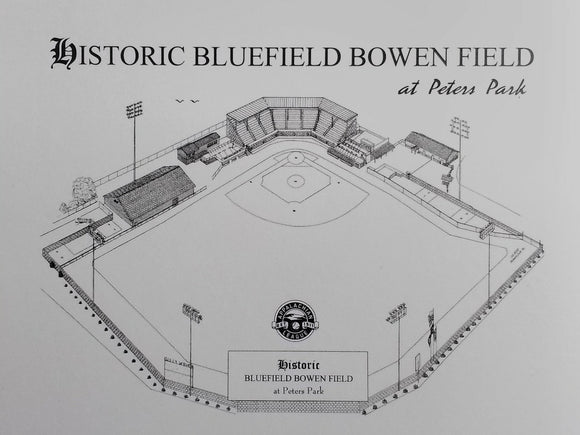 Historic Bluefield Bowen Field at Peters Park  - Pen and Ink Note Cards (C) 2021 Robert Duff duffcreations.com