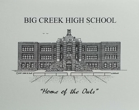 Big Creek High School note cards (c) 2021 Robert E Duff Sr - duffcreations.com