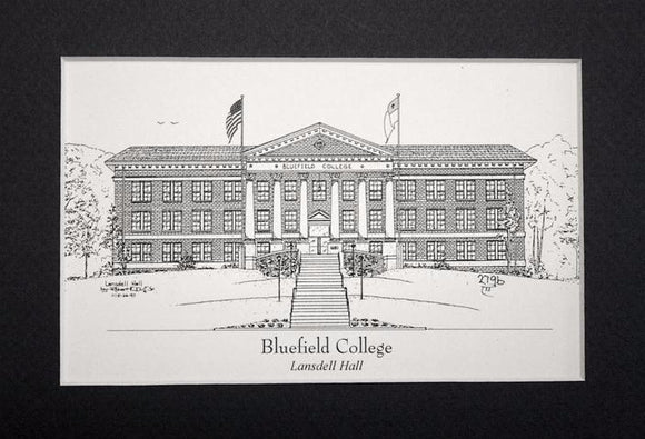 Bluefield College  - Lansdell Hall  - Pen and ink print  (c) 2019 Robert E Duff Sr