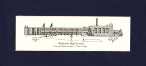 "Richlands High School set of (25)- 4""x9"" matted prints personalized with year!"