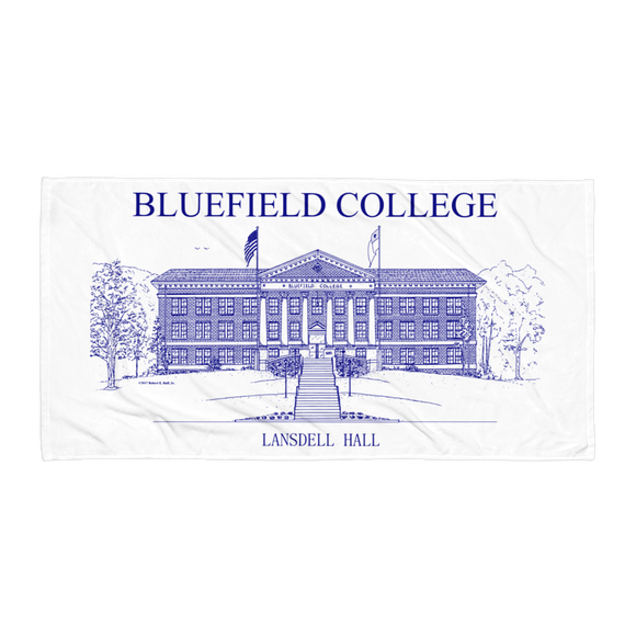 Bluefield College Lansdell Hall Towel - Navy Blue duffcreations.com (c) 2020 Robert Duff Sr