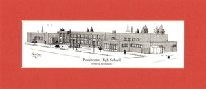 "Pocahontas High School set of (25)- 4""x9"" matted prints standard or personalized with year!"