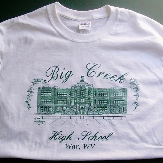 Big Creek High School T-shirt (white) - War West Virginia T-shirts duffcreations.com (c) 2020 Robert Duff Sr