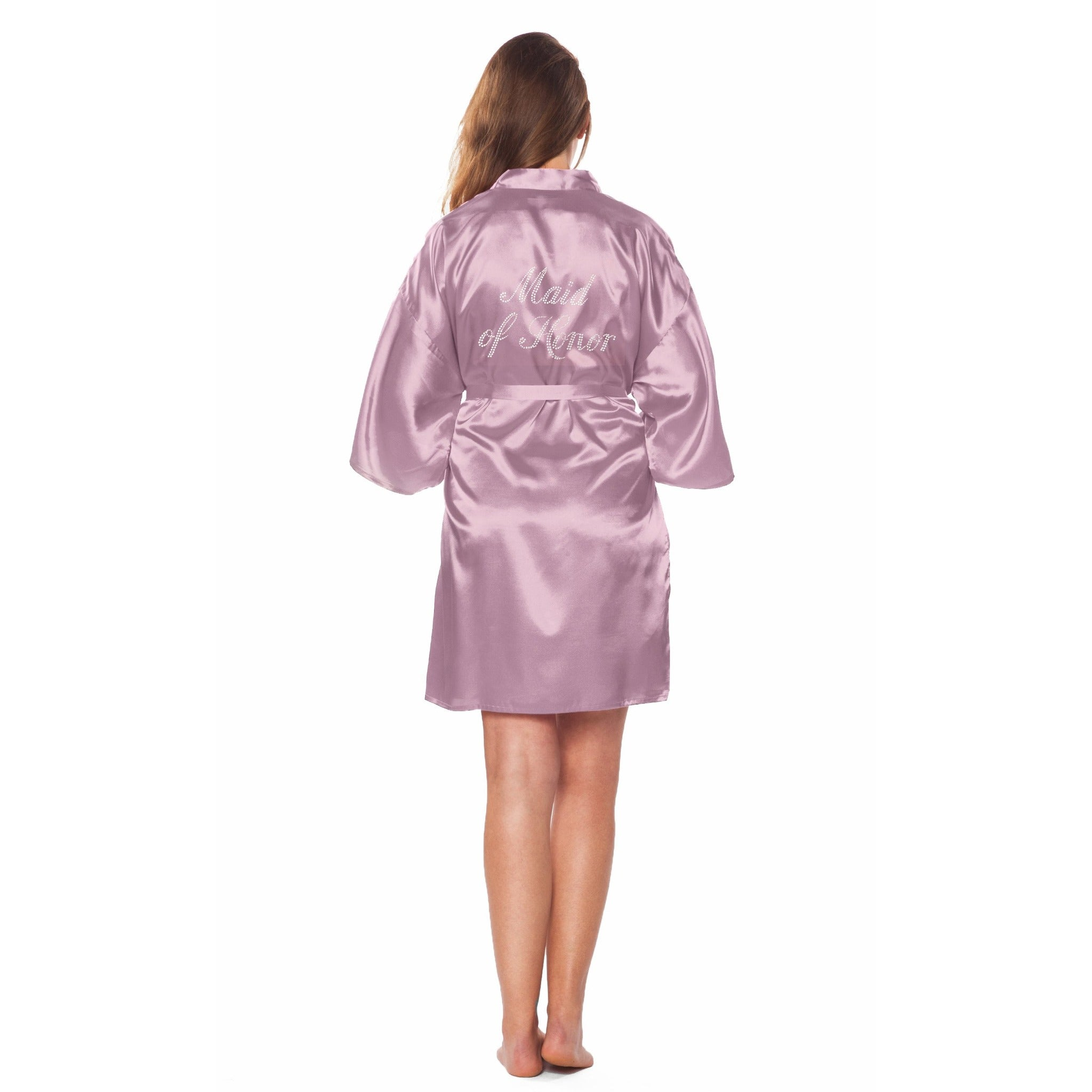 MAID OF HONOR SATIN ROBE with Rhinestones