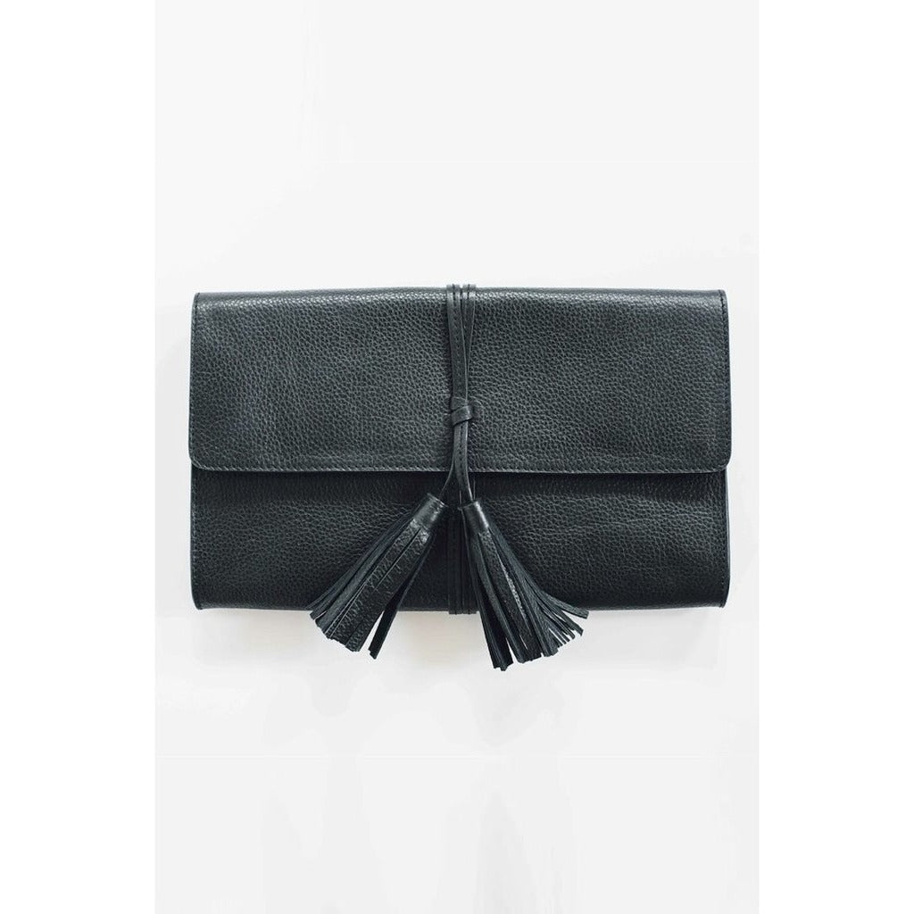 AUDREY Black Leather Clutch Purse with Tassel