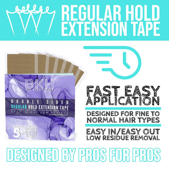Hair Extensions Tape Pressing Sealing Tool + 72 Tabs Regular Hold + 72 Tabs Extra Hold 4cm x .8cm Hair Extension Tape