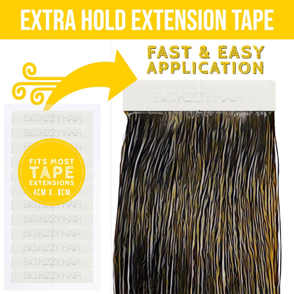 EXTRA HOLD Double Sided Hair Extension Tape Tabs - Compatible with Most Extensions