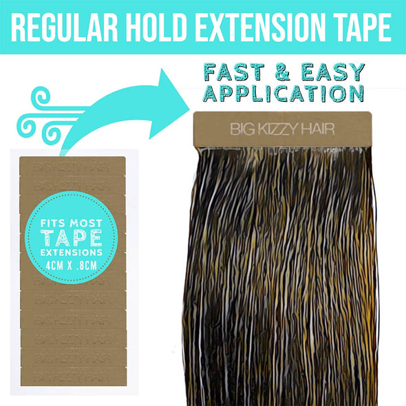 REGULAR HOLD Double Sided Hair Extensions Tape Tabs - Compatible with Most Extensions