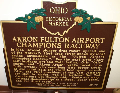 Akron Fulton Airport Champions Raceway - Ohio Historical Marker - Pioneers in Racing - Otie's Automotive