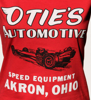 Otie's Automotive Nostalgia Drag Racing Ladies Red Dragster Tank Top