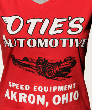 Otie's Automotive Nostalgia Drag Racing Ladies Red Dragster V-Neck
